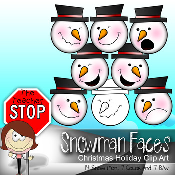 14 Snowman Faces Christmas Holiday Clipart {The Teacher Stop}