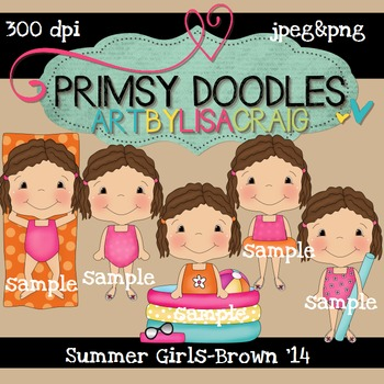 14-Summer Girls-Brown 300 dpi clipart
