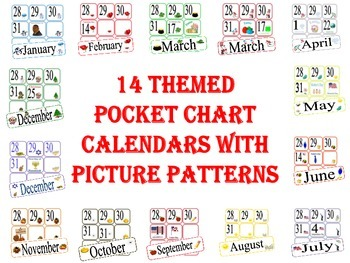 Pocket Chart Calendars with Different Picture Patterns Eac