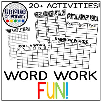 20 Word Work/Spelling Activities