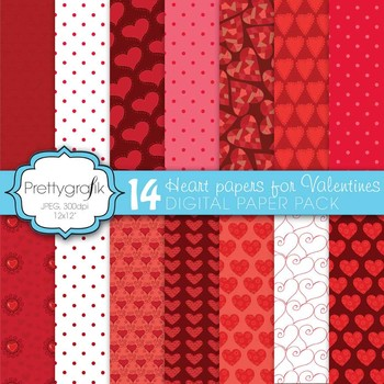 14 valentine heart digital paper, commercial use, scrapboo