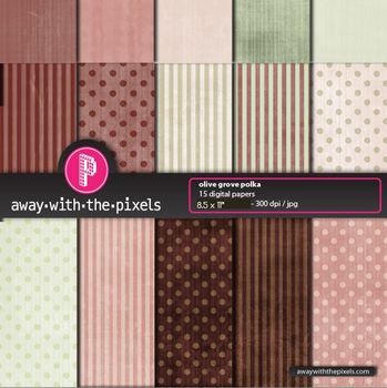 "15 Background Papers 8.5 x 11"" Browns & Greens Polka Dots"
