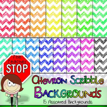 15 Colorful Chevron Scribble Backgrounds 12x12 {The Teacher Stop}
