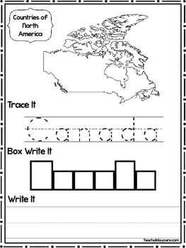 15 Countries of North America Worksheets Geography Curriculum.