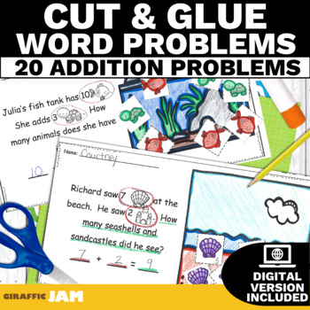 15 Cut and Glue Addition Word Problems