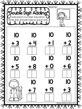 15 Double Digit Adding Worksheets. Numbers 10-20. Preschoo