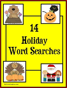 14 Holiday Word Searches - Primary & Intermediate Bundle