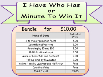 I HAVE WHO HAS Bundle 15 games Math Arrays Time Rounding M