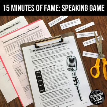 """Public Speaking Activity: """"15 Minutes of Fame"""" Real World"""