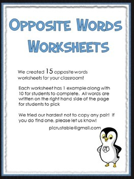 15 Opposite Word Worksheets