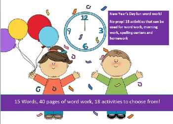 15 words related to the New Year - 20 activities of NO PRE