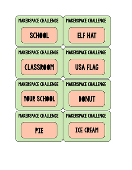 16 MakerSpace Challenge Cards