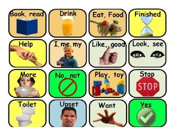 16 Button AAC Core Communication Photo Board