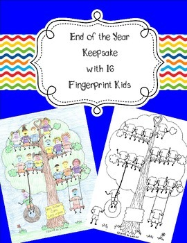 16 Fingerprint Kids End of the Year and Autograph Memory Page