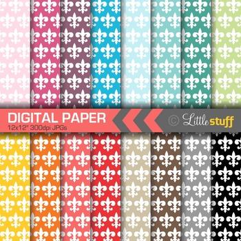16 Fleur-De-Lis Digital Papers, Value Priced Fleur-De-Lis