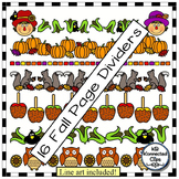 16 Fun Fall Page Dividers! Scarecrows, Football, Caramel A