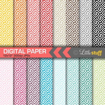 16 Greek Key Digital Papers, Value Priced Greek Key Digita