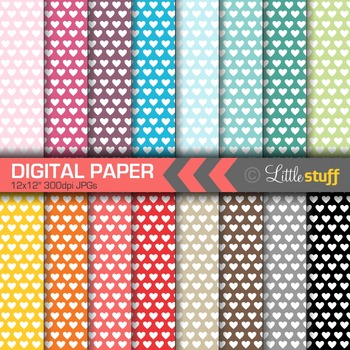 16 Heart Digital Papers, Value Priced Hearts Digital Backgrounds