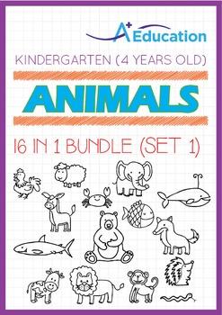 16-IN-1 BUNDLE - Animals (Set 1) - Kindergarten, K2 (4 years old)
