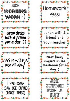 16 Intangible Reward Coupons for Classroom Management PBIS