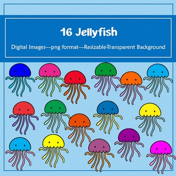 16 Jellyfish Clip Art: for classroom decoration, parties a