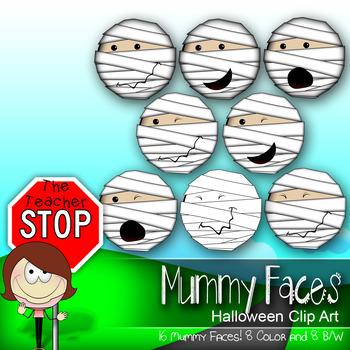 16 Mummy Faces - Spooky Fun Halloween Clipart {The Teacher Stop}