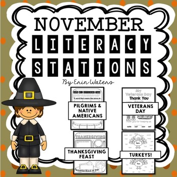 {16} November Literacy Stations (Thanksgiving, Veterans Da