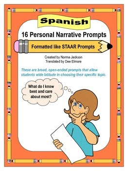 16 Personal Narrative Prompts (STAAR format) for Writing (