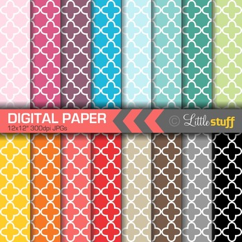 16 Quatrefoil Digital Papers, Value Priced Quatrefoil Digi