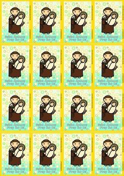 16 Saint Anthony Flash Cards - Catholic