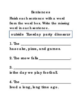 16 Sentences Set 2 Fill in Blanks Writing Reading Journal