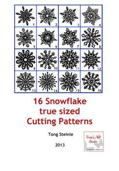 16 Snowflake true sized Cutting Patterns - PDF