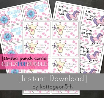 16-Star Punch Card - Girly Pop - Reward System - Print Unlimited