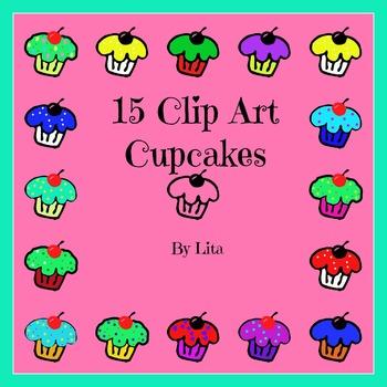 16 Various Cupcakes Clip Art