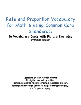 16 Vocabulary Cards for Ratio and Proportion for Math 6 Co