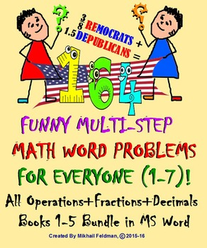 MULTI-STEP MATH WORD 164 FUNNY PROBLEMS: All Operations, F