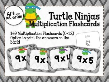 169 Turtle Ninja Multiplication Flashcards (0-12)