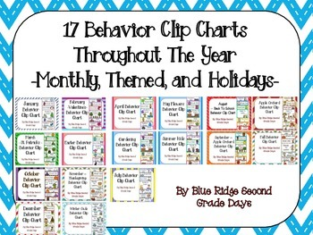 17 Behavior Clip Charts  Throughout The Year -Monthly, The