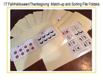 17 Fall/Halloween/Thanksgiving Match-up and Sorting File Folders