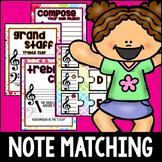 18 Music Match Up Puzzles! Centers, Montessori, Treble & B