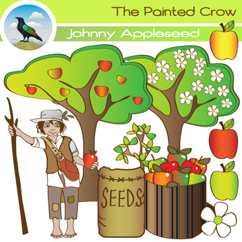 18 Piece Johnny Appleseed Clipart Set