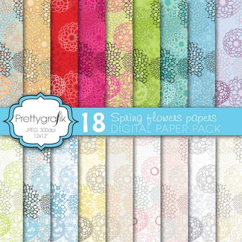 18 flower digital paper, commercial use, scrapbook papers - CL578