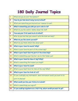 180 Daily Journal Topics