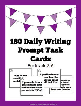 180 Daily Writing Task Cards: Daily Writing Prompts For Le