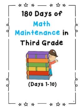 180 Days of Math Maintenance Work in Grade 3 (Days 1-10)