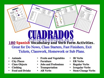 180 Spanish Vocabulary and Verb Form Activities (Do Nows,