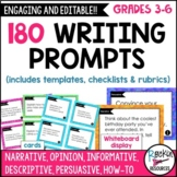 180 Writing Prompt Cards, Whiteboard Display, Templates, C