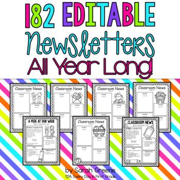 182 EDITABLE Newsletters!!