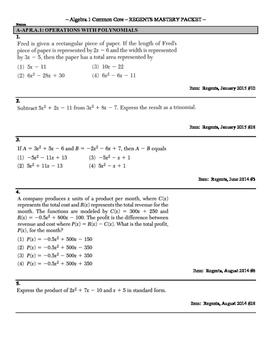 185+ Question CCLS Algebra 1 Regents Review Packet, Sorted