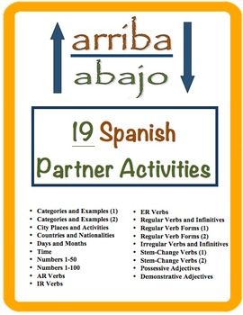 19 Spanish Vocabulary and Verb Form Partner Activities (Ar